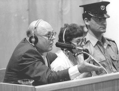 """דמאניוק במשפט בישראל, ב-1987 (צילום: לע""""מ)"""