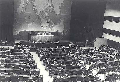 UN General Assembly voting to partition the Palestine Mandate on 29 Nov 1947