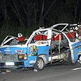 Minibus after blast