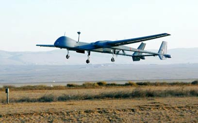 """""""יעניקו סיוע במודיעין ותצפיות"""". מל""""ט מדגם """"הרון"""" (צילום: AFP)"""