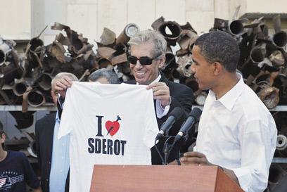 אובמה בביקורו הקודם בארץ ב-2008, לפני שנבחר לנשיא (צילום: אלכס זגר)