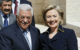 Abbas and Clinton in Ramallah (Photo: AFP)