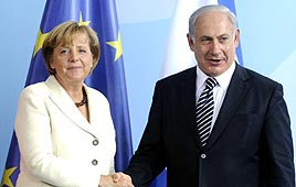 Prime Minister Benjamin Netanyahu and German Chancellor Angela Merkel (Photo: AFP)
