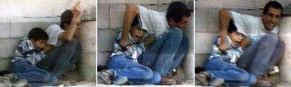 ג'מאל ומוחמד א-דורה בעת התקרית. ויכוח שלא נגמר (צילום: איי אף פי)