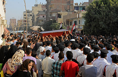 Funerals of Egyptian military or police killed on 18 August in attacks near Eilat - Photo by AFP, published on Israel's YNet website