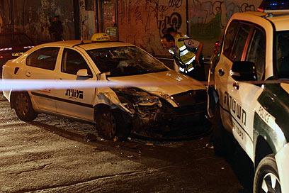 Taxi used in attack (Photo: Moti Kimchi)