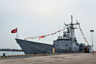 פריגטה של חיל הים הטורקי. בקרוב מול קפריסין? (צילום: AFP)
