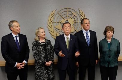 """הצגת עמדת הקוורטט באו""""ם (צילום: AP)"""
