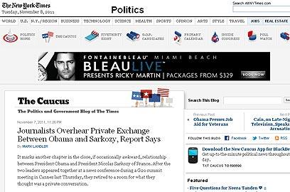 """""""פרק נוסף ביחסים הקרובים בין אובמה לסרקוזי"""". """"ניו יורק טיימס"""" האמריקני"""