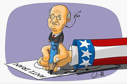קריקטורה באתר איראני. אמאנו ככלי ציוני ואמריקני