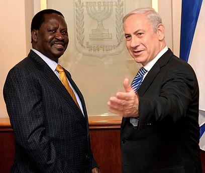"""ראש הממשלה נתניהו עם אודינגה היום (צילום: אבי אוחיון, לע""""מ)"""