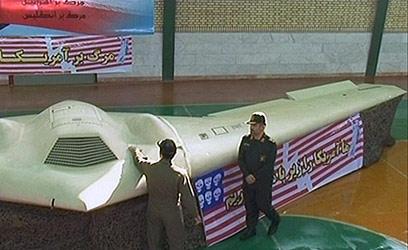 """המל""""ט האמריקני, אותו הציגו האיראנים (צילום: AFP PHOTO / PRESS TV)"""