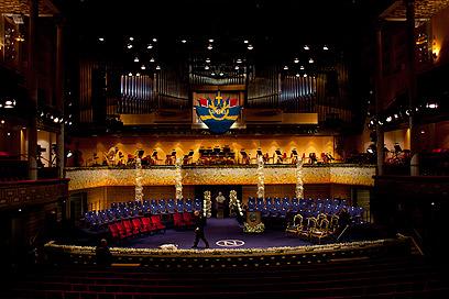 אולם הטקס בשטוקהולם (צילום: AP)