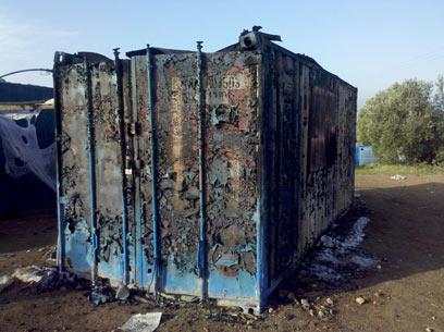 המכולה שנשרפה. טרם נעצרו חשודים (צילום: באדיבות רשות העתיקות)