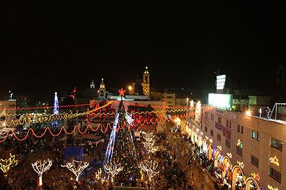 כיכר המלד בבית לחם, הלילה (צילום: AFP)