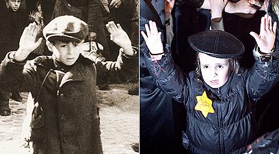 הילד שצולם אמש, בשחזור התמונה המפורסמת מגטו ורשה (צילום: נועם מושקוביץ)