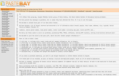 האתר שבו הציעו ההאקרים את הפרטים להורדה