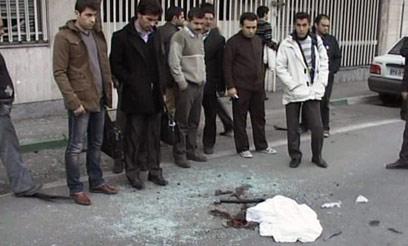 זירת החיסול בטהרן, אתמול (צילום: AFP/HO/AL-ALAM TV)