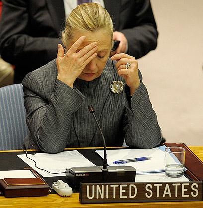 """עוזבת את תפקידה בינואר. קלינטון במועצת הביטחון של האו""""ם (צילום: EPA)"""