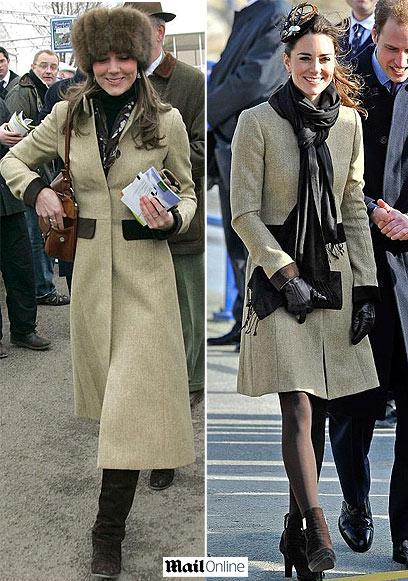 """קייט מידלטון מודל 2006, עם שטריימל ומעיל של הוקר (משמאל) - ובז'קט בווריאציה על אותו מעיל חסידי, לפני כמה ימים (מתוך ה""""דיילי מייל"""")"""