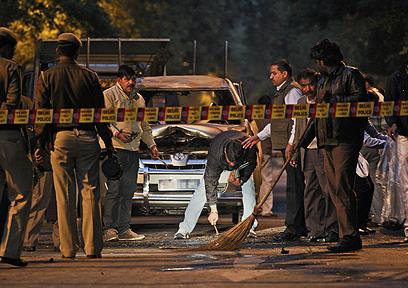 זירת הפיגוע בניו דלהי (צילום: AP)
