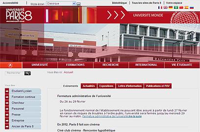 אתר האוניברסיטה ובו ההודעה על סגירת המוסד