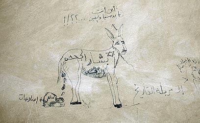 """קריקטורה באידליב: """"בשאר אסד חמור"""" (צילום: רויטרס)"""
