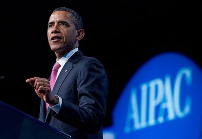 """אובמה אתמול בוועידת איפא""""ק (צילום: AP)"""