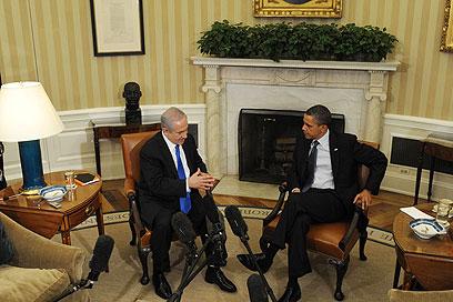 """אובמה ונתניהו. לא דיברו על פצצות חודרות בונקרים (צילום: עמוס בן גרשום, לע""""מ)"""