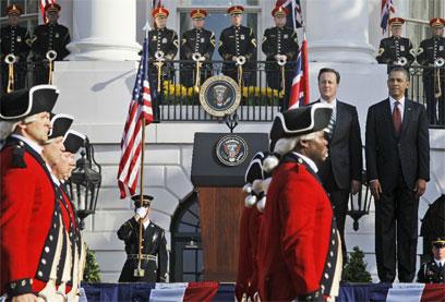 טקס קבלת הפנים בבית הלבן. תותחים ונחתים (צילום: AP)
