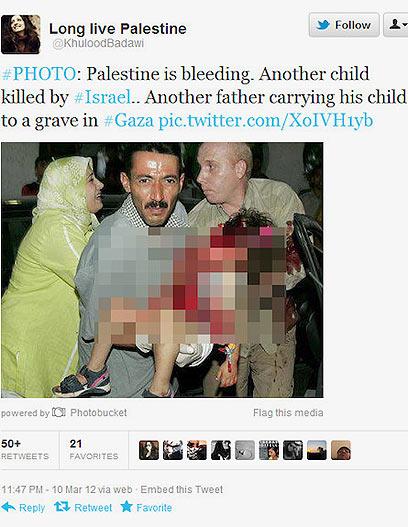 """""""עוד אב נושא את ילדו לקבר בעזה"""". התמונה המזויפת בטוויטר"""