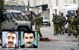 IDF troops in Nablus; two of the killed gunmen (Photo: AFP)