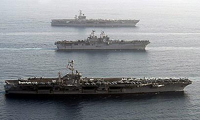 תמרון אמריקני במפרץ (ארכיון) (צילום: רויטרס)