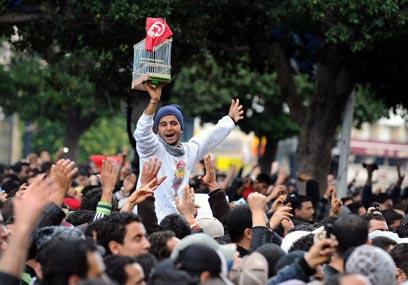 תוניסיה יצאה מהכלוב. הפגנת ענק ביום ההפיכה נגד בן-עלי (צילום: AFP)