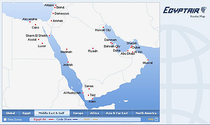 Egypt Air removes Israel from map