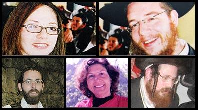 """נרצחו בבית חב""""ד. למעלה: גבריאל ורבקה הולצברג. למטה: אריה טייטלבאום, יוכבד אורפז ובן-ציון קרומן"""