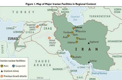 מפת הכורים הגרעיניים באיראן. גבול אזרבייג'אן מצפון-מערב