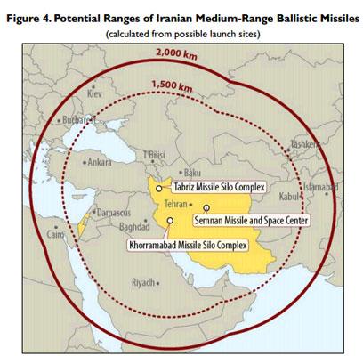 מפת טווח הטילים של איראן