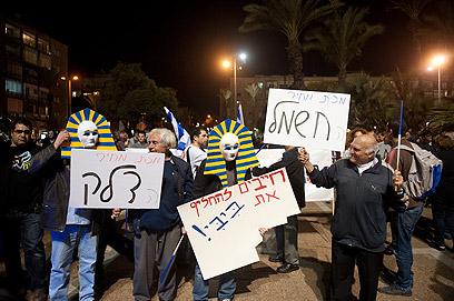 תהלוכת המחאה, הערב בתל אביב (צילום: בן קלמר)