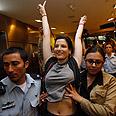 Activists at Ben Gurion Airport Photo: Reuters
