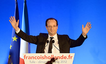 """""""הצרפתים בחרו בשינוי"""". הולנד בנאום הניצחון  (צילום: AFP)"""