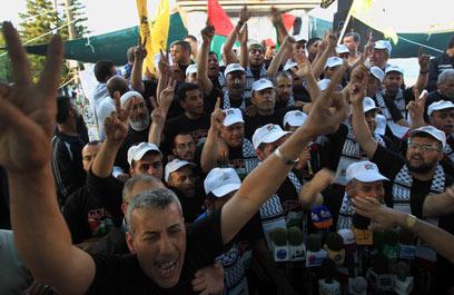 החגיגות בשטחים הפלסטיניים (צילום: AFP)