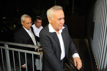 Katsav returns to prison after his son's recent wedding (Photo: Yaron Brenner)