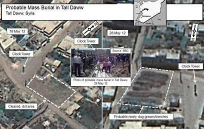 """""""ככל הנראה קברי אחים בתל דווא בסוריה"""" (צילום: רויטרס)"""