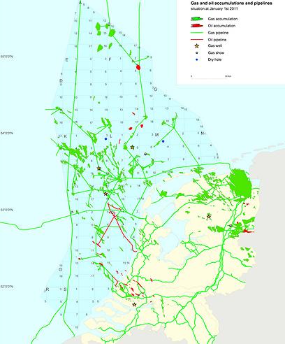 מפת שדות הגז והנפט בהולנד (צילום: TNO)