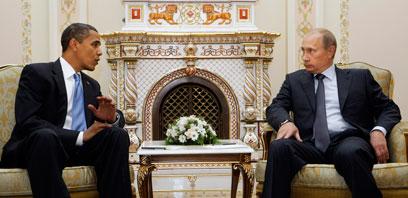 פוטין ואובמה במפגש בקדנציה הקודמת. יתראו שוב ביוני (צילום: AP)