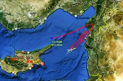 Flight path of Turkish jet