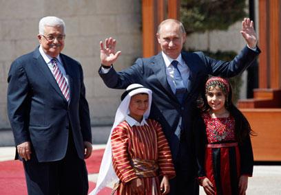 פוטין ואבו מאזן, היום בבית לחם (צילום: AP)