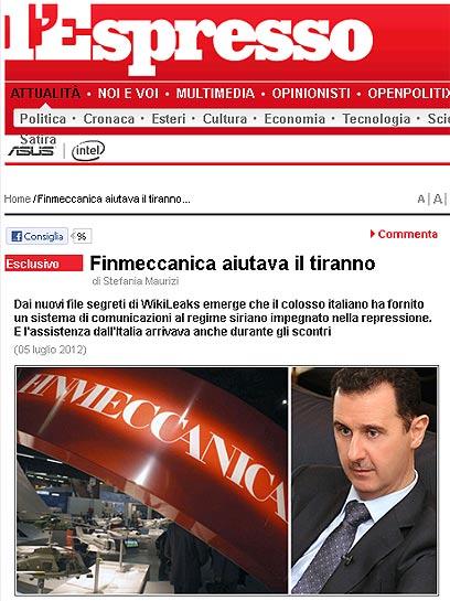 """הדיווח על הקשרים בין אסד לחברת """"פינמכניקה"""" בעיתון האיטלקי"""
