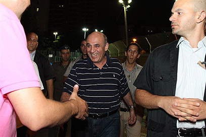 שאול מופז, הערב בהפגנה (צילום: עופר עמרם)